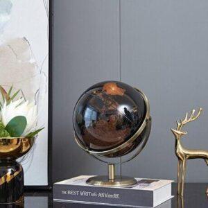 Globe Terrestre Noir Et Doré